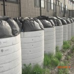 The piled contaminated soil containers in residential area in Koriyama-city. There is still nowhere to dispose at present.