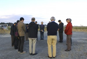 "The bishops concluded their visit to hard-hit areas with a prayer on the premises where ""Support Center Shinchi for Earthquake Victims"" used to stand."