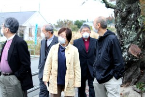 Their visit to hard-hit areas --- at Tomioka Town, whose citizens are still in evacuation.